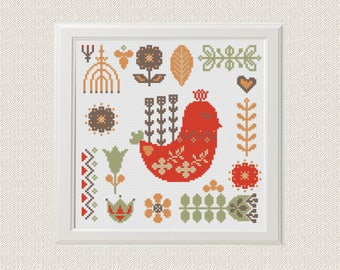 scandinavian Bird cross stitch pattern , Modern cross stitch pattern,nordic folk flower, floral home decor wall art