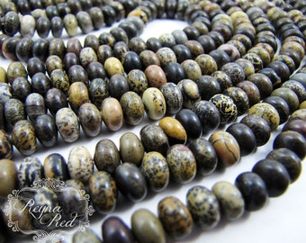 Spotted Jasper Smooth Rondelle Beads, rondelle beads, gemstone beads, neutral jasper beads, jewelry making, beading - reynaredsupplies
