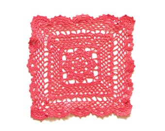 Pink Coral Crochet square Doily hand dyed Vintage lacy doily