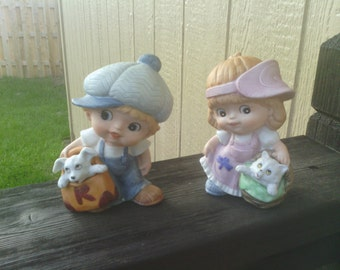 Adorable Boy and Girl Figurines, HOMCO.
