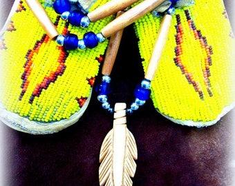 Elk bone necklace, NATIVE MADE Feather necklace, Elk bone beaded necklace, Carved feather, Native American, Boho