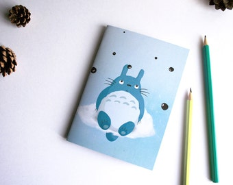 Totoro - A6 handmade notebook with recycled paper
