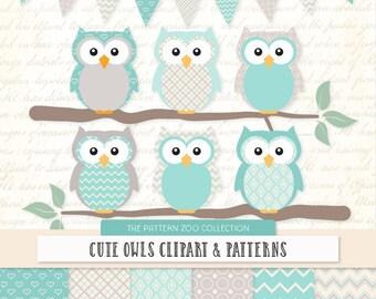Patterned Aqua Owls Clipart and Digital Papers - Aqua Owl Clipart, Owl Vectors, Baby Owls, Cute Owls