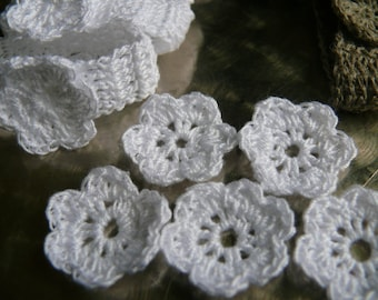 Crochet flower, set of 20, crochet applique, Wall Handing, embellishments,cotton applique, Shabby chic, Scrapbooking,crochet ornaments,cards