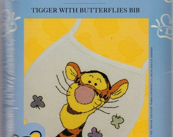 Pooh by Leisure Arts, Tiger With Butterflies counted cross stitch bib kit, unopened, gift, needle work kit, nursery, child, baby bib kit