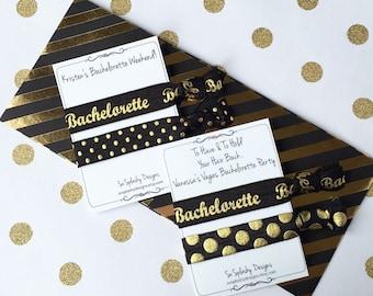 Custom Bachelorette Party Favor. Hair tie Bachelorette favor, Bridal shower, bachelorette hair tie, bridesmaid gift, black, gold, pink