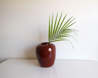 VINTAGE Vase Sienna Brown 1980s Modern Decor Round Medium