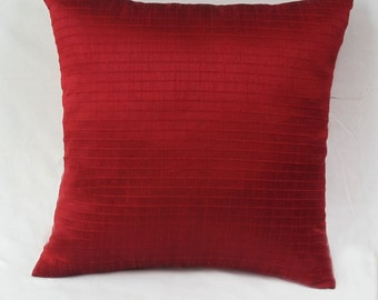 Deep red Art silk pillow.  maroon self stipe cushion cover. With  pintucks.  Luxury throw pillow      cover 18 inch custom made