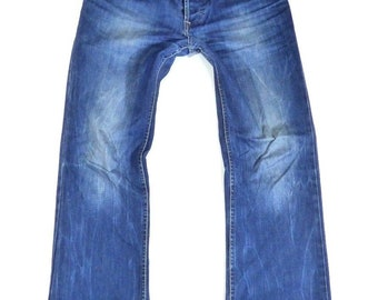 Men's Vintage PIERRE CARDIN Button Fly Slim Fit Bootcut Faded Distressed Blue Denim Jeans Size W34 L32