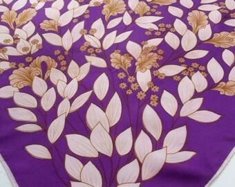 Vintage Summer Scarf - Purple and Brown Floral Spray 70s - Ladies' Summer Neck Scarf