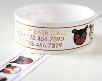 Custom Vinyl Puppy ID Bracelets - Personalized ID Bands - #Kids #Travel #Safety #Medical
