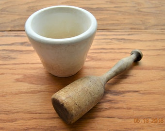 Antique Porcelain Mortar Once White Now Ivory and Crazed,Wood Pestle,Turned Wooden Masher,Pantry Pounder