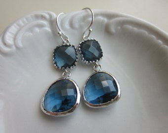Navy Blue Earrings Sapphire Silver - Sterling Silver Earwires - Bridesmaid Earrings - Wedding Earrings - Valentines Day Gift