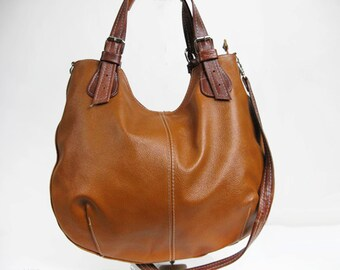 Leather HOBO Bag, Leather Shoulder Bag, Cross Body Handbag, Large Hobo, Leather Purse, Everyday Shopper Bag, Leather Bag, Light Brown Hobo