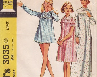 FF 70s McCalls 3035 Plus Size Misses Nightgown, Shortie Nightgown & Panties Vintage Sewing Pattern, pajamas, Size 16-18, Bust 38-40, UNCUT