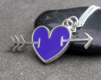 Purple Heart Necklace - Purple Resin Heart Necklace - Sterling Silver Heart Pendant - Resin and Sterling - Heart and Arrow - Heart Necklace