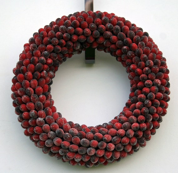 Fruit Wreath, Frosted Cranberry Fruit Wreath