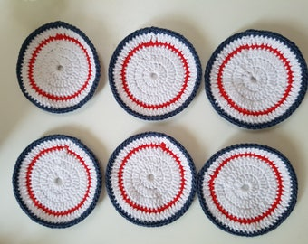 Set of 6 coasters blue white red crochet