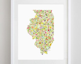 Illinois State Floral Watercolor Art Print - Available in Any State
