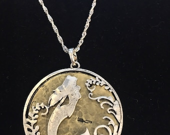 Sterling Silver Mermaid Necklace With Bronze Underlay