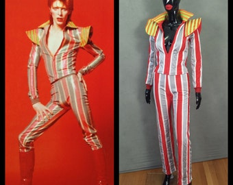 MADE TO ORDER David Bowie / Ziggy Stardust Striped 2 piece suit with high collar and shoulder 'wings'