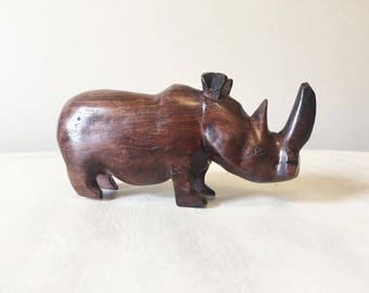 Wooden rhinoceros, wooden rhino, vintage rhino, wooden animal, vintage figurine, wooden figurine, vintage rhinoceros, vintage carved animal