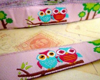 "SALE - Half Price - Owls on Pink - Jacquard Ribbon - 5/8"" x 1 yard"