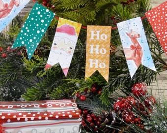 Christmas Santa Banner PDF printable - digital college sheet illustration Rudolph reindeer
