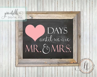 Fill-in-the-Blank Wedding Countdown Sign- Instant Download, Printable, Engagement Gift, Chalkboard Printable