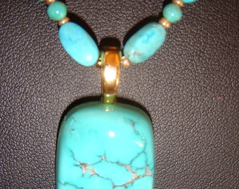 Kingman Turquoise and Gold Vermeil Beads with Turquoise Pendant Necklace