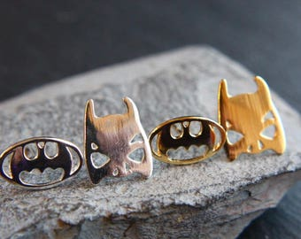 Batman bat mask Earrings gold or silver earrings
