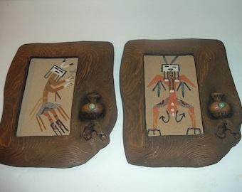 2 Navajo Sandpaintings in Faux Wood Frames