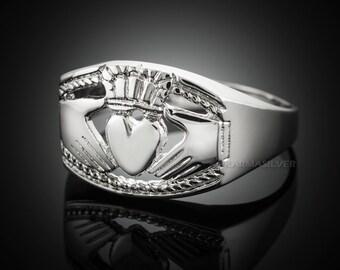 Sterling Silver Claddagh Ring .925 Solid Silver Mens Bold Irish Claddagh Ring
