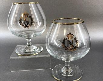 "A Pair of 4.5"" Napoleon Vintage Cognac Brandy Tasting Advertising Snifter Glasses Courvoisier"