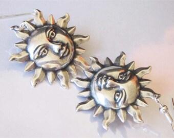 Sun Earrings, Antiqued Sterling Silver Plated Brass, Metal Earrings, Tranquil Dangle, Sun Earring Jewelry