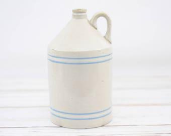 Vintage/Antique Stoneware Jug Light Blue and White Stripes Salt Glazed