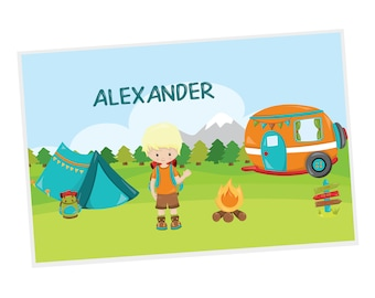 Camping Personalized Placemat - Camping Boy Girl Fire Camper Tent Backpack with Name, Customized Laminated Placemat