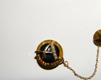 Vintage Gold AVON Highest Honor Sales Award Seed Pearl & Gemstone Tac