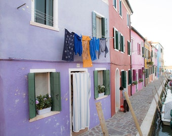 Borono, Italy, Venice, Purple House, Window Boxes, Travel Photography