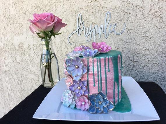 Birthday Cake Topper, Personalized Name Cake Topper, Custom Cake Topper, Kid's Birthday Cake Topper, Custom Age Cake Topper, Glitter Cake