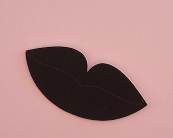 Lips Brooch // Surreal Brooch // Pop Art Brooch // Black Lip Brooch