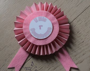 1° 1st birthday Rosette brooch