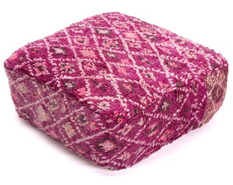 Moroccan Pouf, Floor Cushion, Berber Kilim Pouf Ottoman, Floor Pillow, Foot Stool, Refashioned from a Vintage Berber Rug. PVR018