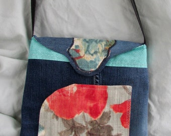 New! Petite cross shoulder bags! compact yet roomy enough to carry your important items, made from recycled denim, lots of pockets