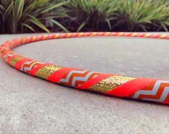 Beginner Hula Hoop // Orange Chevron & Gold Dance Hoop // Handmade Fitness Hoop