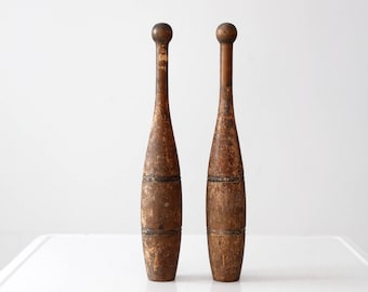 antique juggling pins, Indian clubs, wooden meels