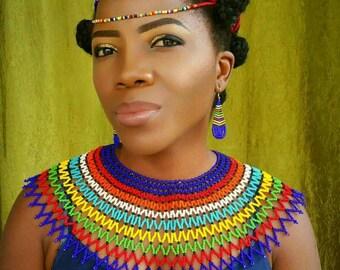 Rainbow Zulu beaded web necklace