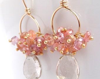 Gold Gemstone Hoop Earrings with Pink Peach Clusters, Sunstone Quartz Rhodocrosite, Dangle