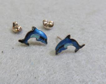 Vintage Colorful Enamel on Sterling Silver Dolphin Pierced Earrings