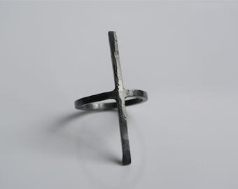 KUROSU solide forgée main minimaliste Croix bague en argent sterling